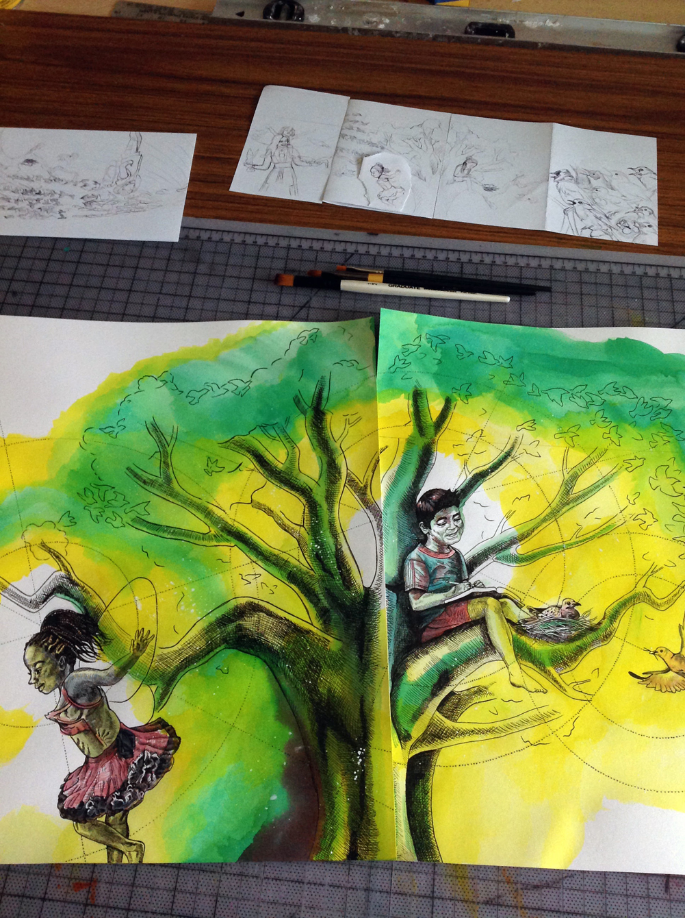 Close-Up of Tree and Kids Painting for Mural Art