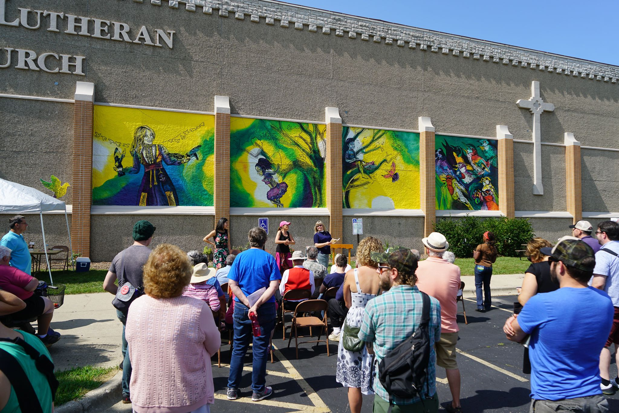 Giant Mural at Lutheran Church being Dedicated