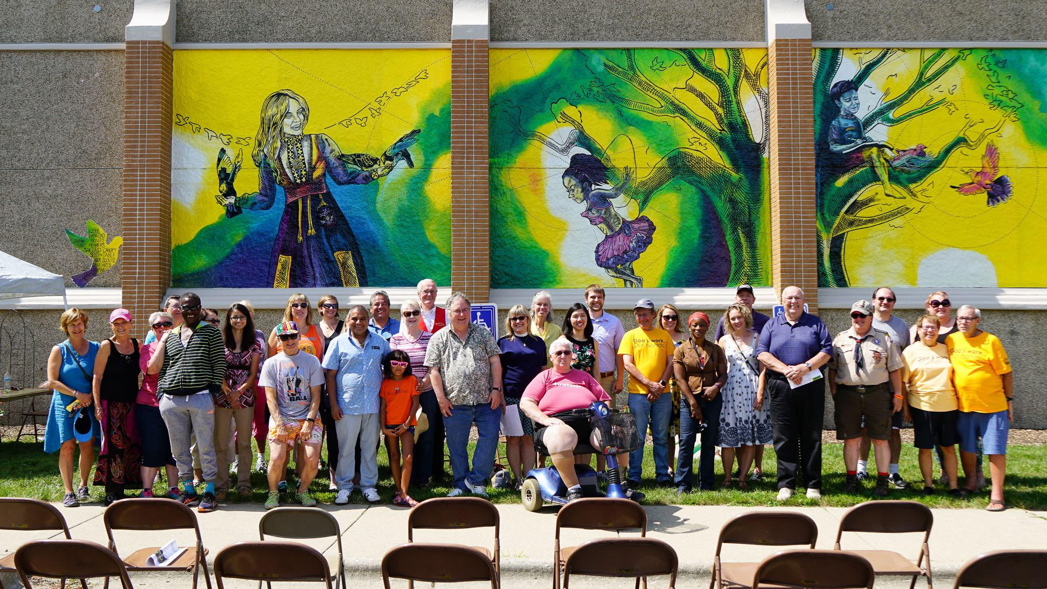 Giant Mural at Lutheran Church with Trinity Group