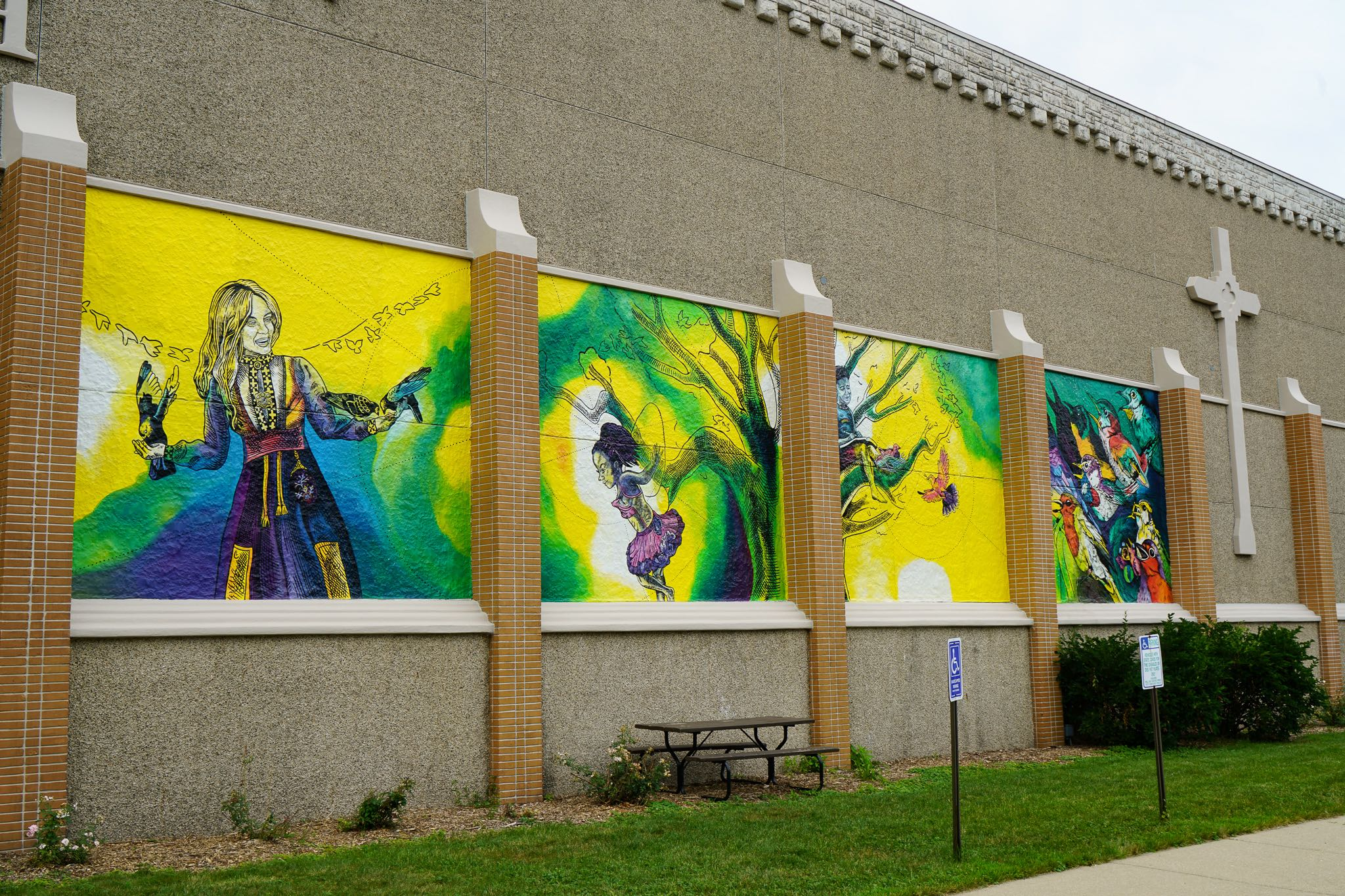 Giant Mural at Lutheran Church with Birds